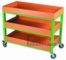 Kindergarten Classroom Furniture Book Trolley,Kids Cabinet Reading Room Book Cart