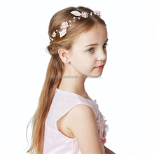 fabric leaf with flowers handmade flower girl headbands children handmade crystal hair band with pearl