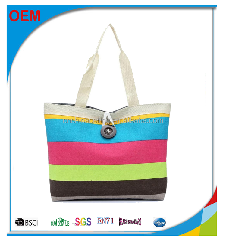 Fashion Ladies Colored Stripes Canvas Shopping Handbag shoulder bag
