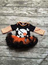 girls Halloween tutu romper infant toddler girls skull outfits girls Halloween party romper with orange tutu baby boutique sets