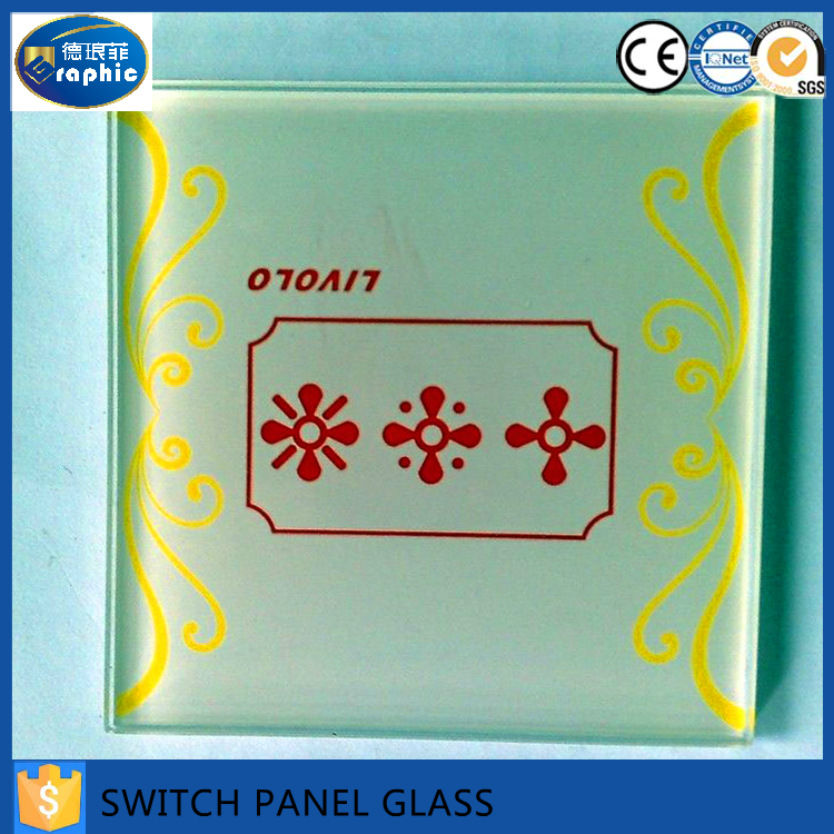 High Quality silk Printing Tempered Light Switch Transparent Glass