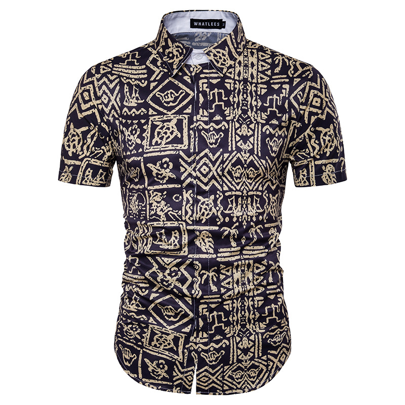Island Fever Tropical Cotton Slim Fit Black <strong>Shirt</strong> with Gold Print