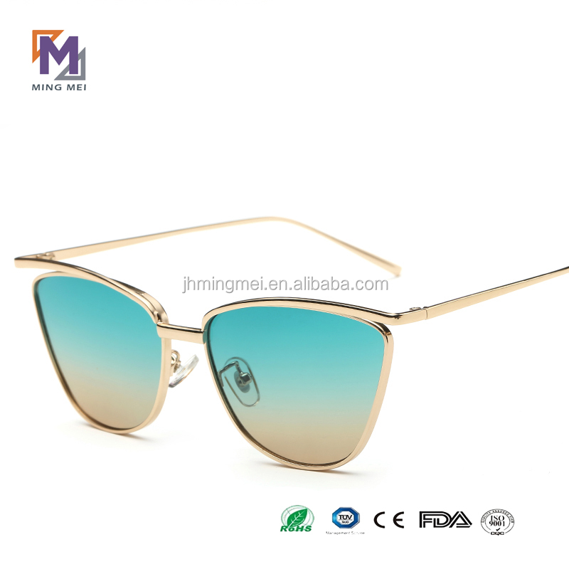 2016 new butterfly designed metal fashionable double colored lens ladies sunglasses