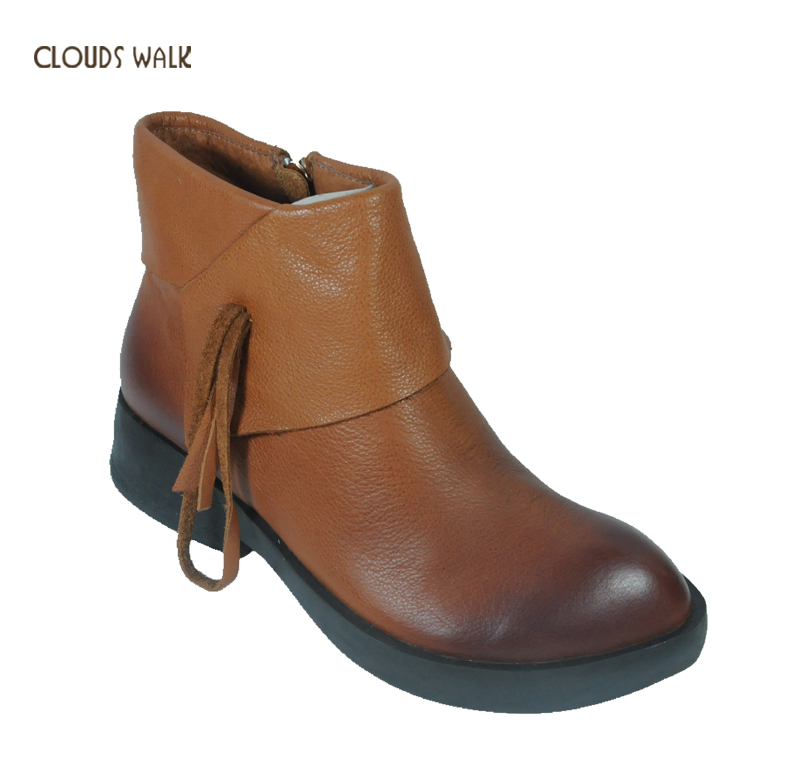 China Manufacture Women Leather boots Cow Patent Tassel Decorated Genuine Leather Ladies Winter Boots women boots in India