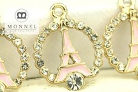 H532 MONNEL 2015 Hot Selling Clear Crystal Pink La Tour Eiffel Paris Tower Jewelry Pendant