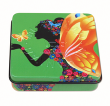 69x69x16mm Square Cosmetic Tin Box With Mirror