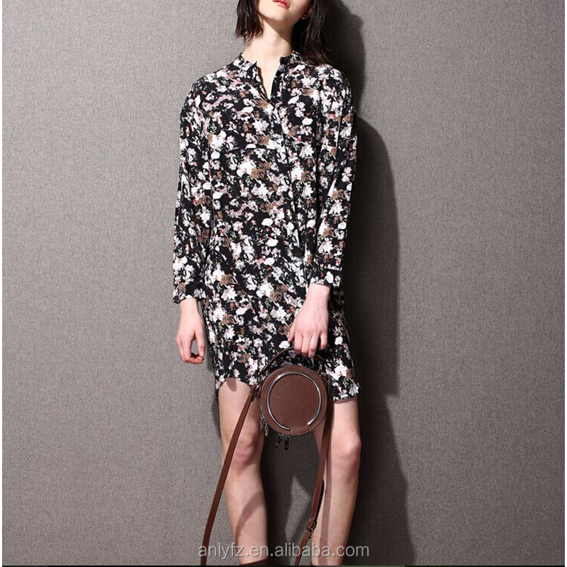 new style elegant color stand-neck skirt long sleeve silk lining fashion women dress made in china