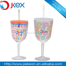 Novelty Double Layer Plastic Red Wine Mug with lid and straw