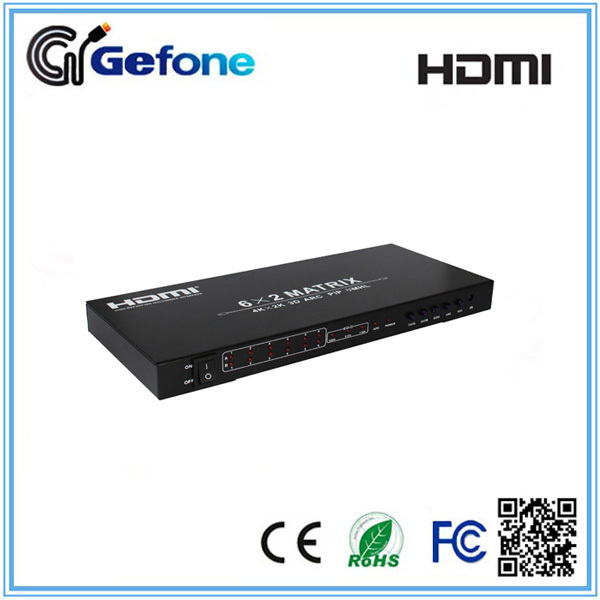 3D HDMI Matrix 6 in 2 out HDMI Matrix 6x2 With Remote Control