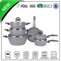 11pcs aluminum forged grey marble coating korean cookware