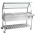 Assembled Bain Marie With Curved Glass Shelf