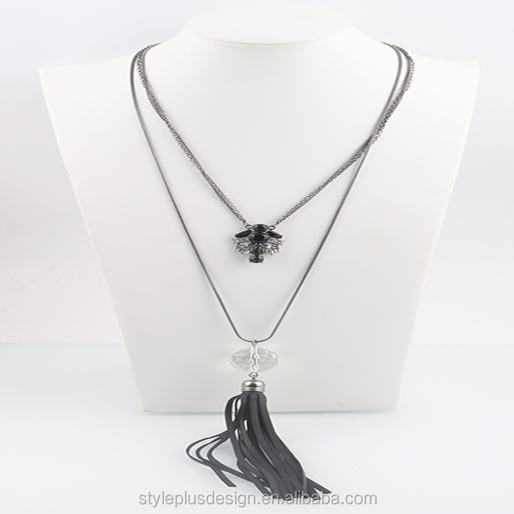 N76834H01 Style Plus Chain Leather Necklace In Roll Feather Meaning For Women With Black Leather Stone White Plastic Beads