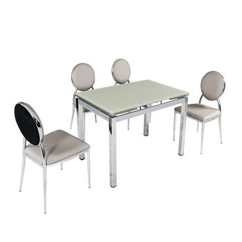 Hot sale extendable tempered glass dining table set for 4 or 6 seaters