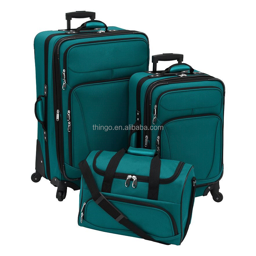 2016 New China Factory 900D Polyester Cheap Promotional Trolley Soft Luggage Set