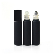 New product 6ml frosted black roll on glass essential oil bottle