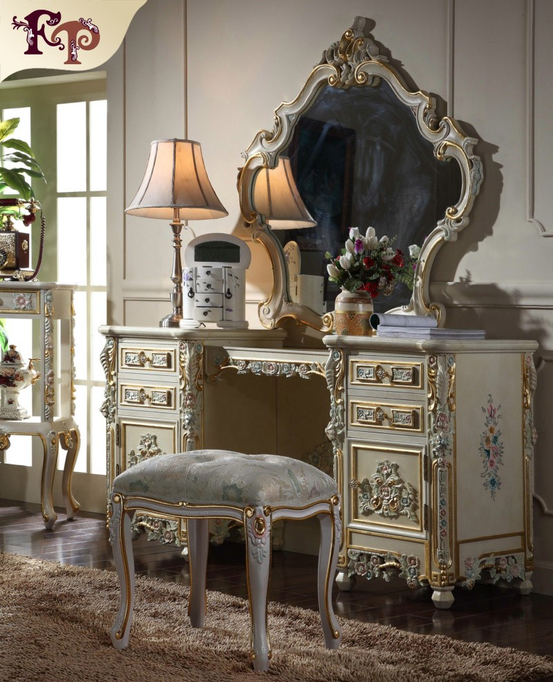 Classic european style framed wood decorative mirror antique french provincial bedroom furniture
