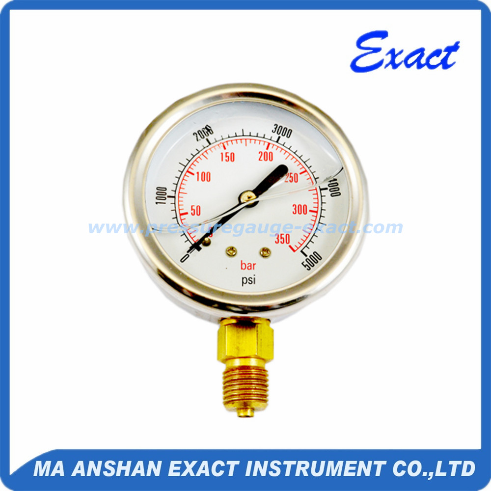 Stainless steel bourdon tube type glycerin filled pressure gauge