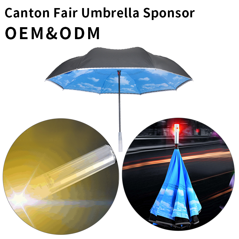 Double Fabric Cloth Bling Advantages of Flower Shape Party Decoration lighted Lights Up Led Light Umbrella With Reflective Tape