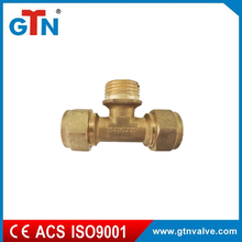 China suppliers copper bathroom fitting male tee brass yellow fitting ART033H pex fitting