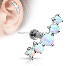 16G Stainless Steel opal surgical steel helix piercing jewelry