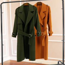Ladies' fashion wool coat with belt and buckle 100% wool long wind coat army green and golden camel