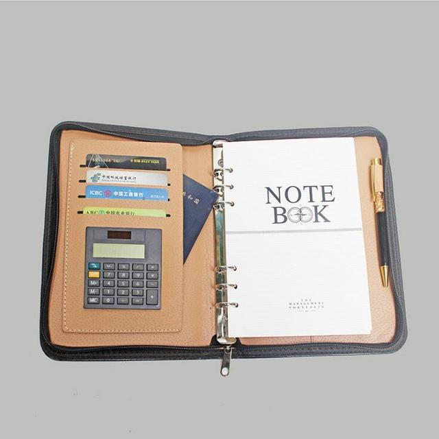 Business zipper notebook skin multi-function notebook customization with the calculator manager clamping office wholesale