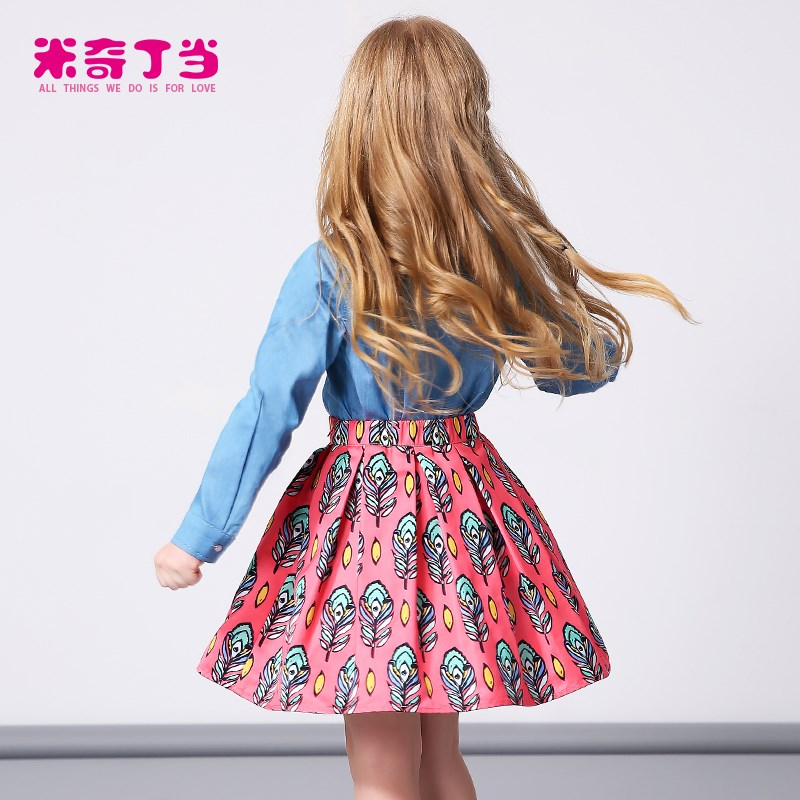 2016 new arrival fashion printed kid ruffled hemline latest skirt design pictures