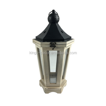 White brush sexangle wooden candle lantern with black metal top