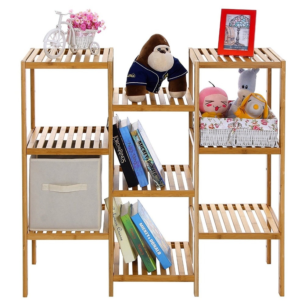 Bamboo Customizable Utility Shelf Bathroom Rack Plant Display Stand