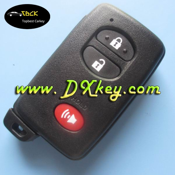 smart car key shell blanks for Toyota 2+1 buttons key in black with emergency key blade