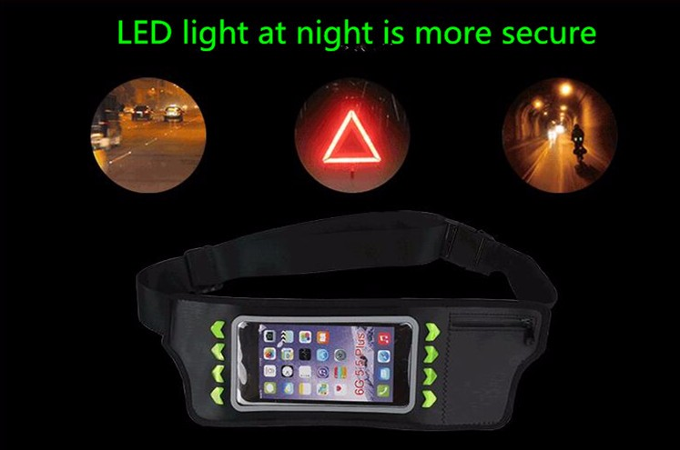 HAISSKY 5.5 inch LED waist belt bag,water resistance waist bag,waist pack waist bag for iphone 7/7plus,6/6 plus