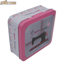 Hinged metal tins transparent storage containers tin box with window