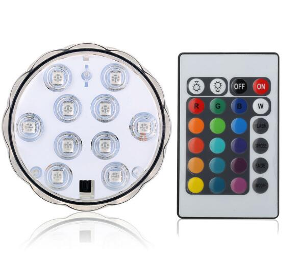 3AAA Battery Operated Remote Control 16Colors Submersible LED Light for Wedding <strong>decoration</strong>