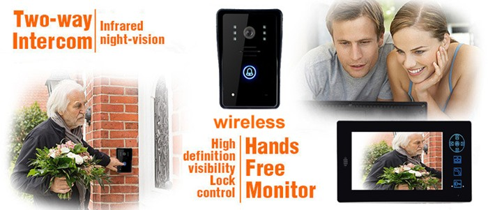 "7"" TFT LCD 2.4G Wireless Video Door Phone Doorbell Intercom System Night Vision Waterproof Camera"