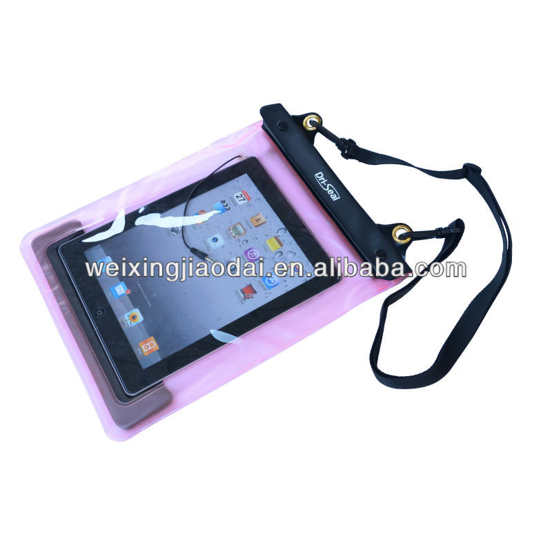 "Pink waterproof ipad 10"" bag with wire for earphone fachion dry case"
