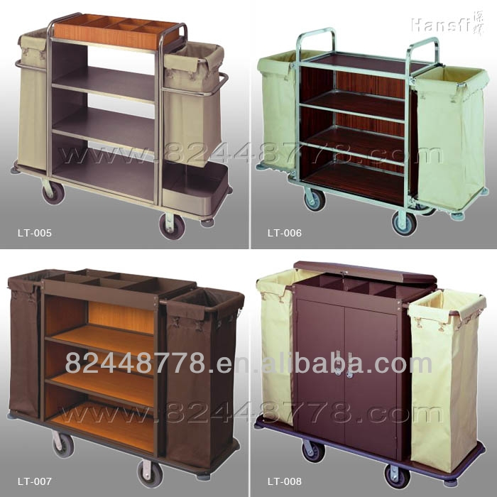 Hotel Room Wood Metal Service Cart with Wheels