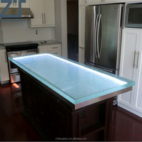 Glass counter top with led contemporary kitchen countertops