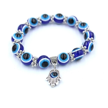 Turkish Hot Selling 8MM Evil Eye Beads Elastic Rope Jewelry Hamsa Charm Bracelet Unisex