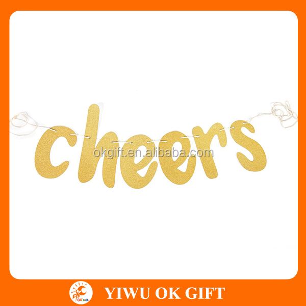 Cheers Banner Gold Shimmery for all of your Celebration Needs -Birthday, Wedding, Anniversary, Bachelorette Party or Hen Party,