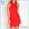 2016 fashion Ladies Sexy Clothing Red Knit Bodycon Dress Tight Party Dresses For Women