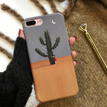 Healing Cartoon Illustration Cactus Hard PC Frosted Mobile Phone Case For iphone X 8 8plus 7 7plus 6 6plus 6s