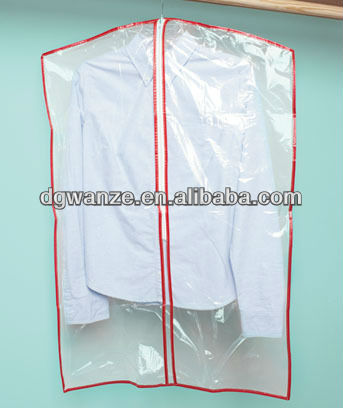 hot sale plastic clear damp-proof garment bags with pockets