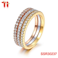 18k Rose/Yellow Gold/Platinum Plated CZ Simulated Diamond 3pcs Stackable Eternity Ring Set