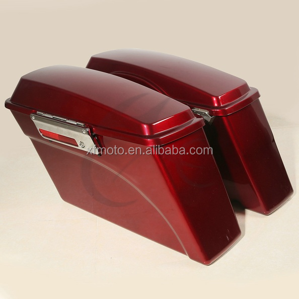 Red Hard Saddle bags Trunk For Road King Glide Softail DYNA