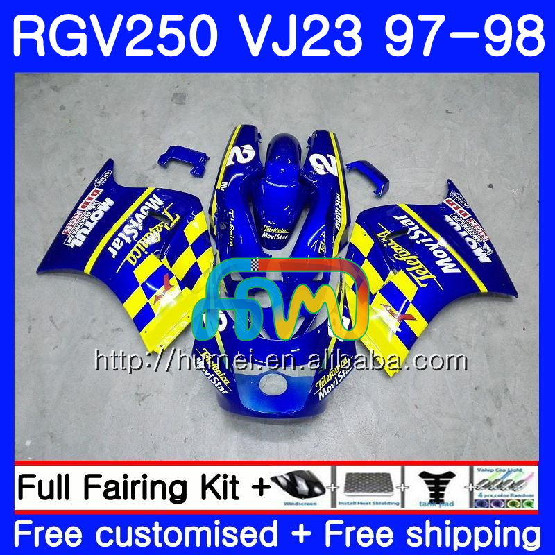 Body For SUZUKI RGV250 VJ23 97-98 RGV 250 97 98 Bodywork 81HM2 Movistar blue RGV-250 VJ 23 Cowling RGV250 1997 1998 Fairing kit