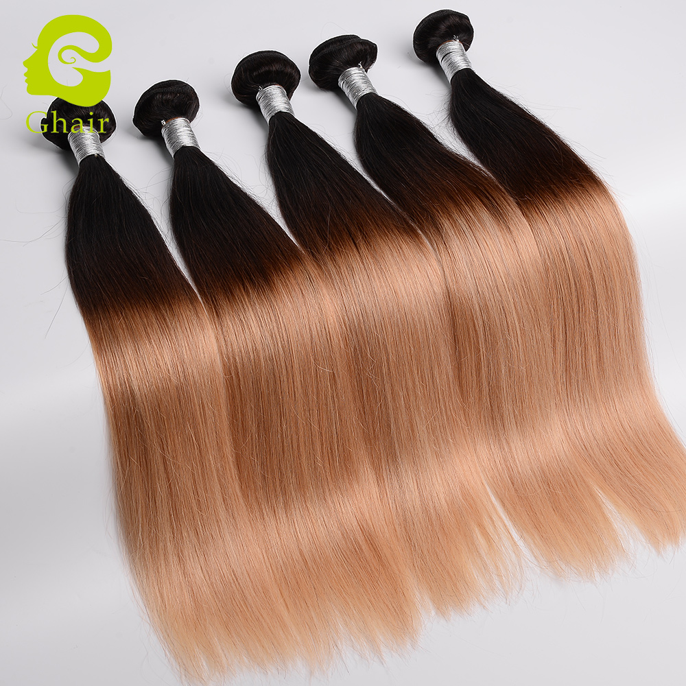 Brazilian ombre weave hair 1B 427 color ombre human hair extensions for sale