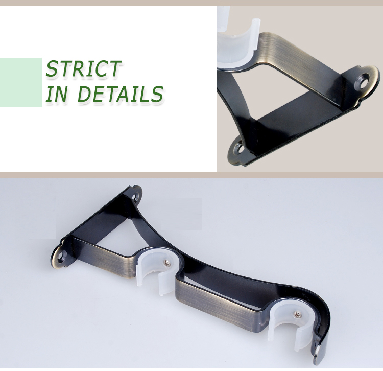 Drapery hardware double bracket curtain rod wall brackets
