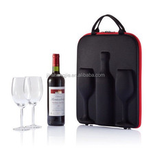 2015 custom designed leather wine glasses carrying case