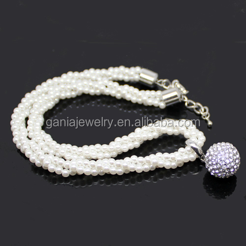 Fashion 3 Strands Glass Pearl Twist Necklace with Rhinestone Crystal Ball Pendant Charm
