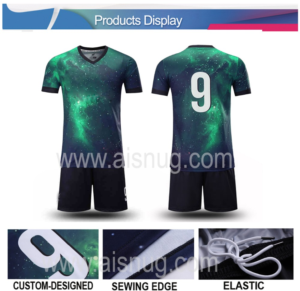 Dye sublimation printing custom long sleeve soccer uniforms cheap thailand wicking football jersey